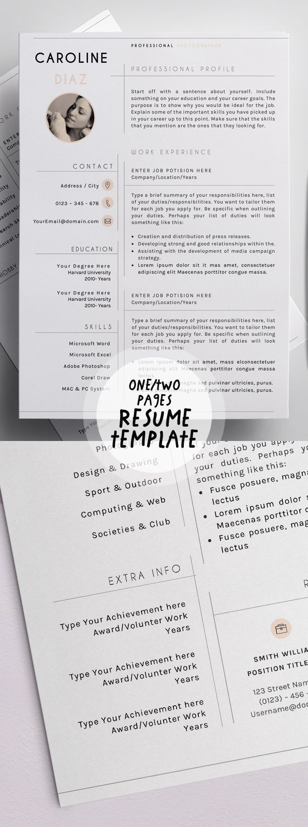 one or two page resume templates misc pinterest template