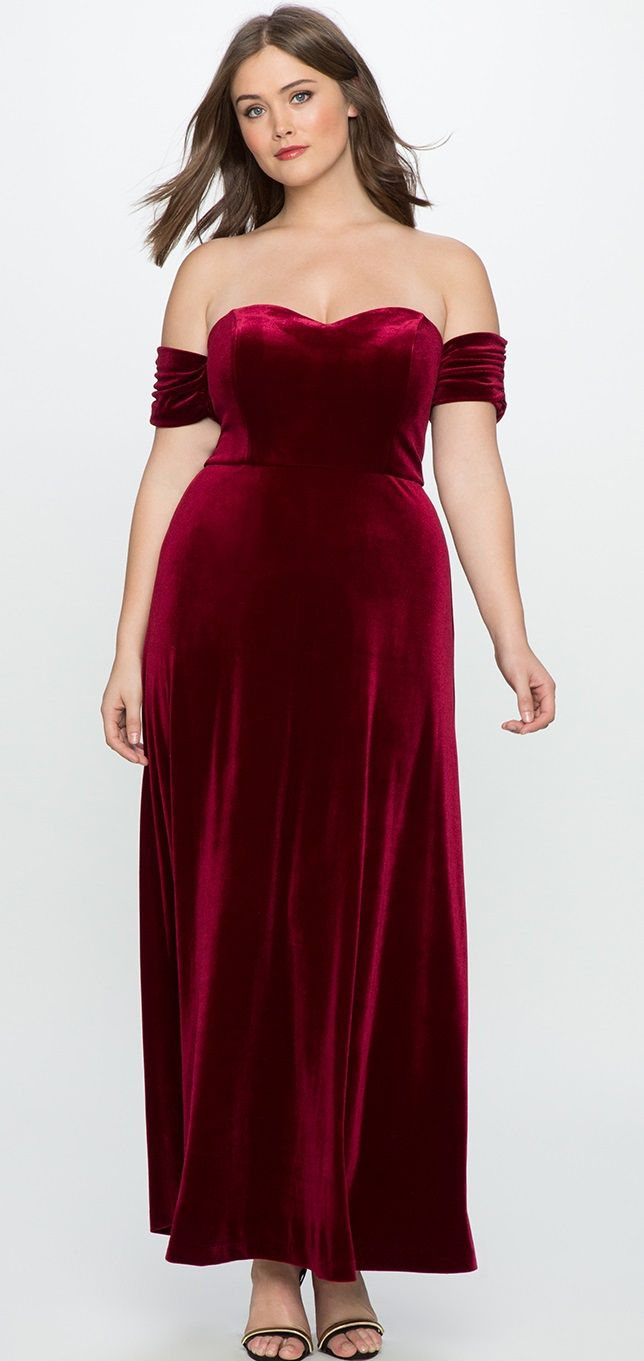 6f1210e4cdd Plus Size Velvet Off the Shoulder Gown