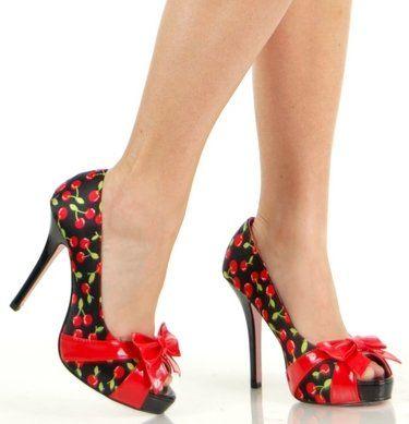 Leg Avenue Rockabilly Cherry Pinup Peep Toe Costume High Heel Shoes 6  #Shoes