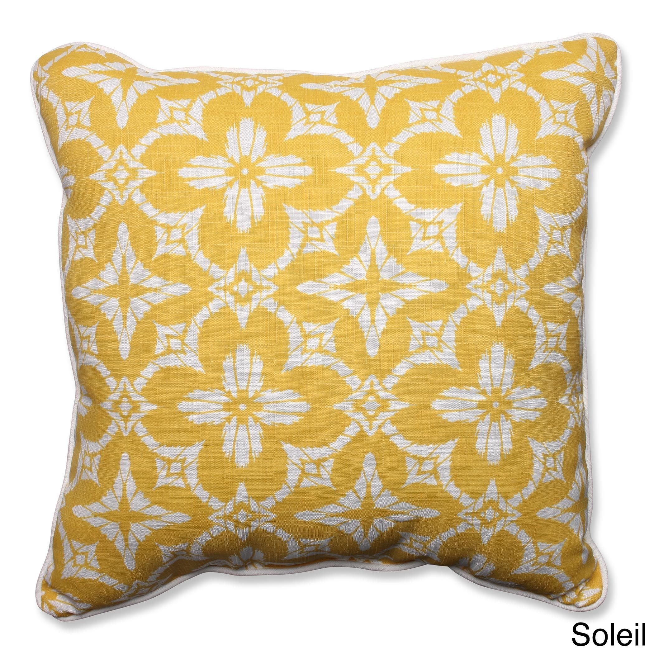 Pillow Perfect Outdoor/ Indoor Aspidoras 25-inch Floor Pillow (Soleil), Yellow (Polyester), Outdoor Cushion