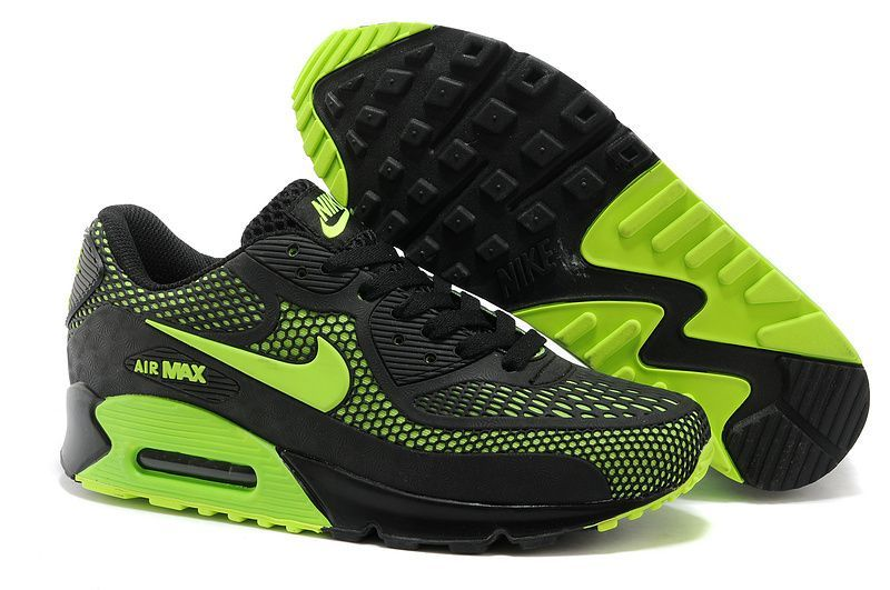 low priced d6b79 1f210 Nike Air Max 90 Black fluorescent green shoes Mens  nikemenrunningshoes