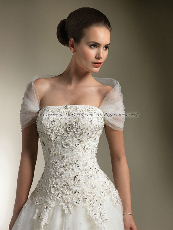 Custom gown sleeves or straps add a tulle wrap around to for Adding straps to wedding dress