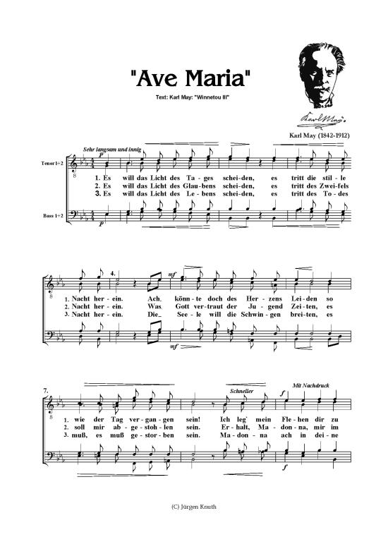 Ave Maria Mannerchor Karl May Text Aus Winnetou 3 Klick Auf Die Noten Um Reinzuhoren Gitarre Lieder Noten Lernen Noten