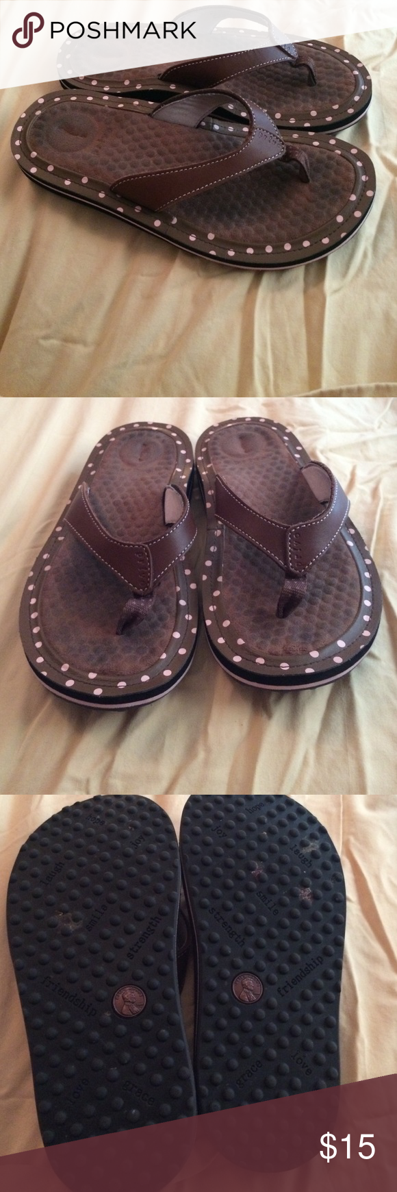 a2fea990dc4986 Shoes Sandals · Privo penny leather thong brown pink polka dot Being  offered is a pair of privo