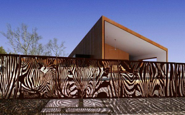 außen architektur ideen garten zaun metall figuren modern - gartenzaun modern metall