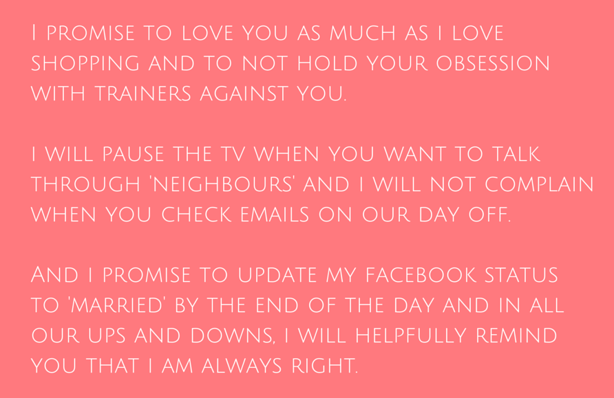Funny Wedding Vows Make Your Guests Happy Cry Weddinginclude Funny Wedding Vows Wedding Vows To Husband Funny Vows