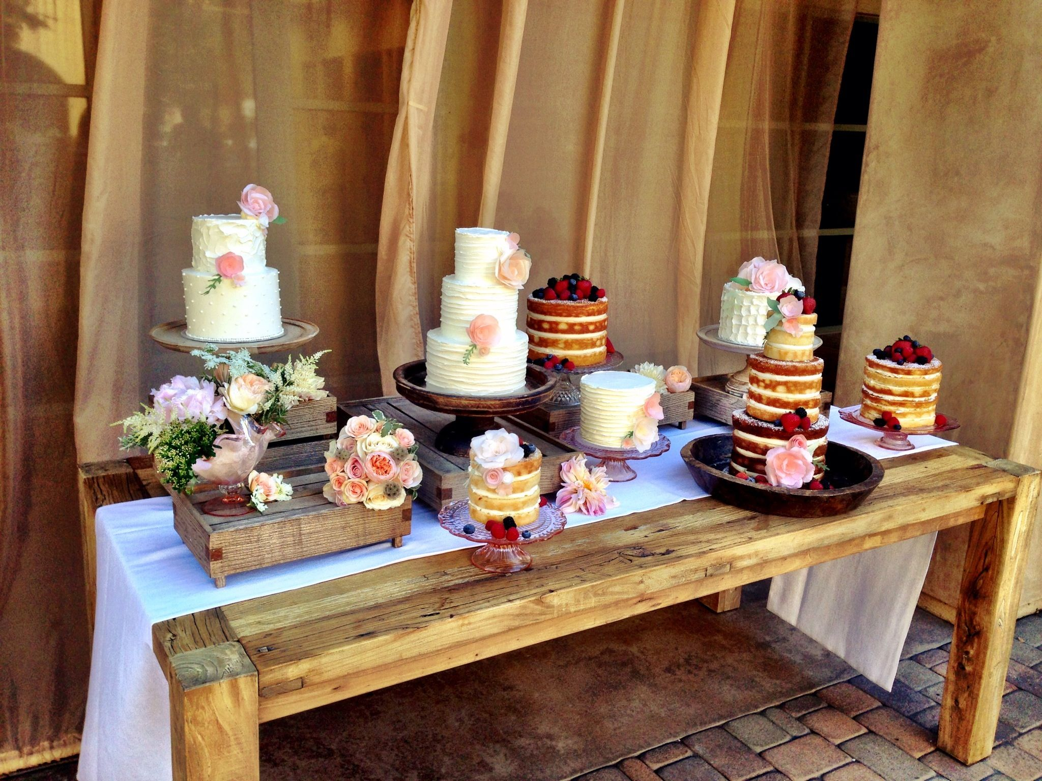 Wood Dessert Table ~ Naked cake wedding wooden boxes for different levels