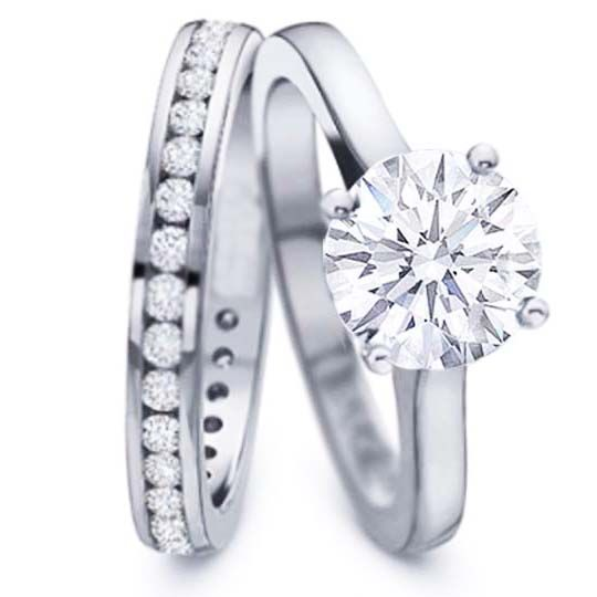 this solitaire engagement ring setting can be made for any shape or size diamond its your choice the matching wedding band features channel set round cut - Solitaire Engagement Ring With Diamond Wedding Band
