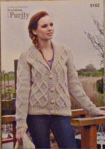 Knitting Pattern Ladies Cable Jacket Chunky Twilleys | Knitting ...
