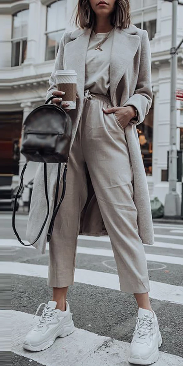 Stylish Pure Color Long Sleeve Coat