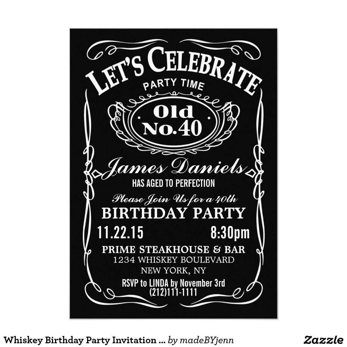jack daniels whiskey birthday party invitation customizable daddy 39 s. Black Bedroom Furniture Sets. Home Design Ideas