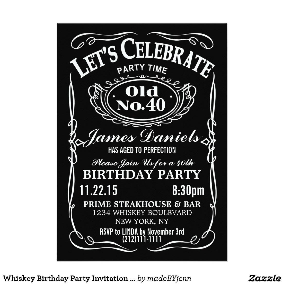 Jack Daniels Whiskey Birthday Party Invitation Customizable
