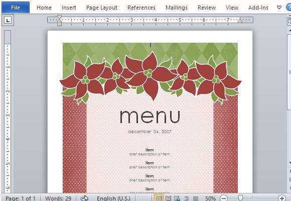How To Create Printable Menus In Microsoft Word Menu
