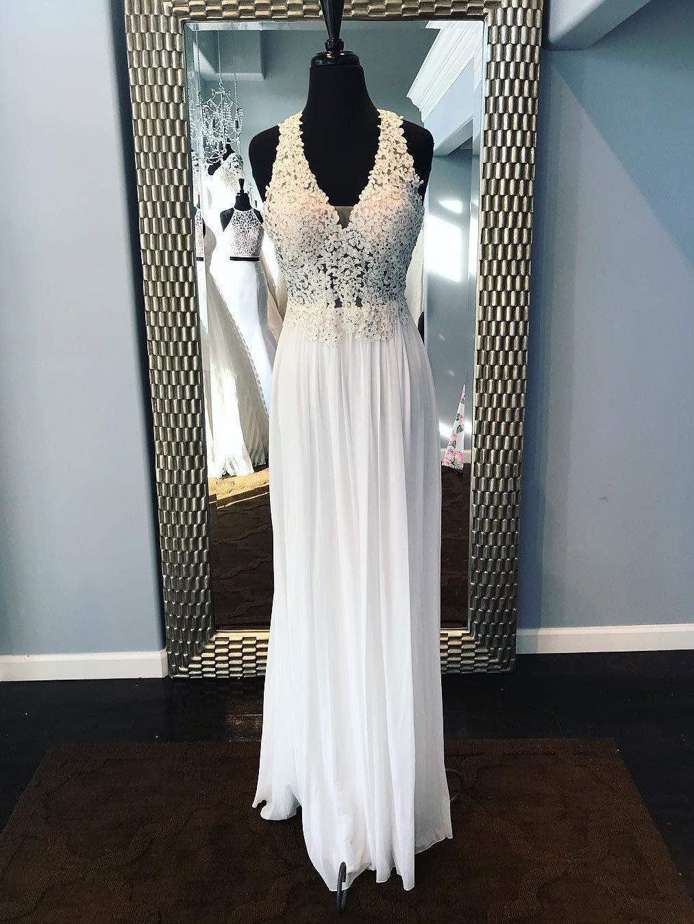 Aline vneck ivroy chiffon long see trough prom dresses