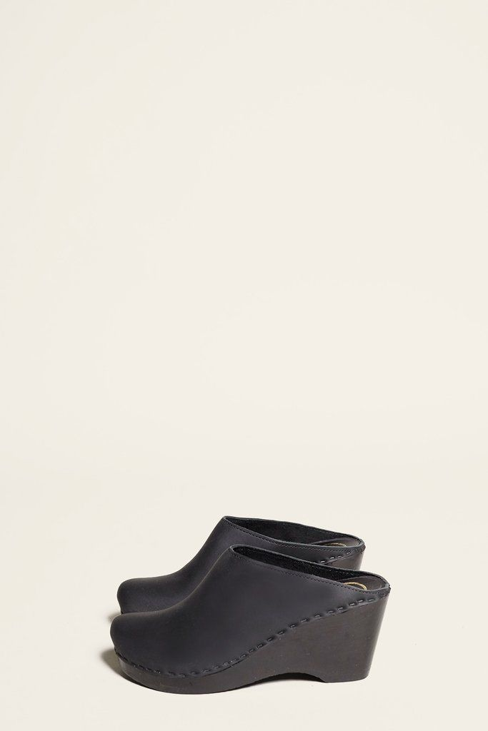 c3a652f7a00 No.6 New School Clog on Wedge in Black on Black Base