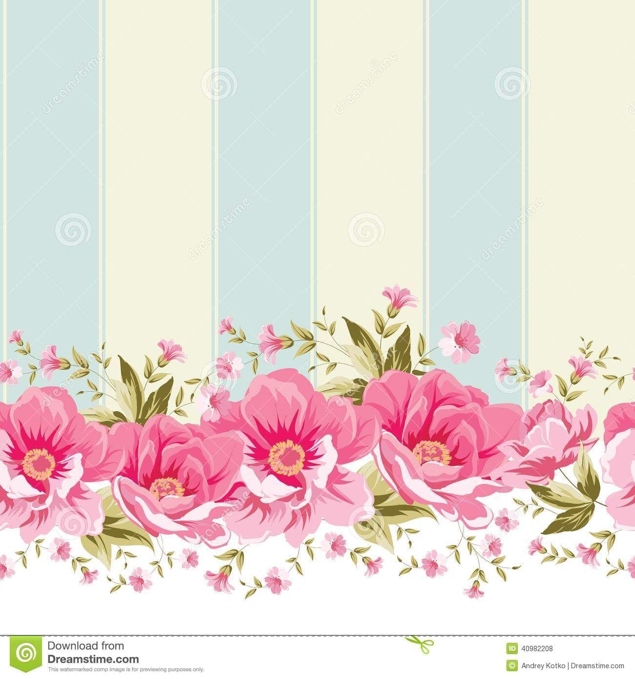 Vintage flower border Ornate pink flower border with