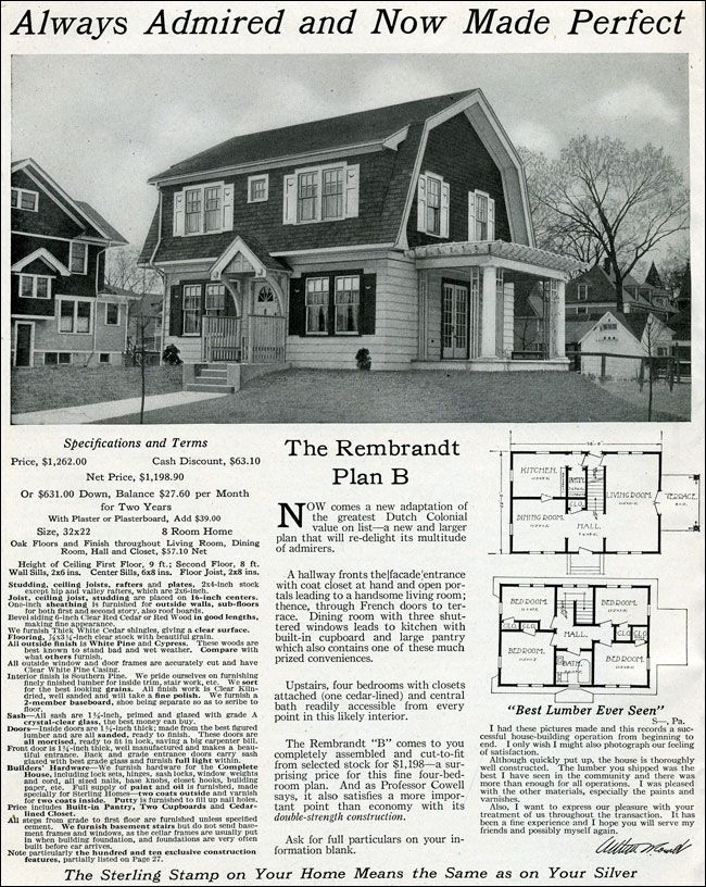 Dutch Colonial Revival 1916 Rembrandt International Mill Timber Sterling System Homes Gambrel Roof Dutch Colonial Homes Dutch Colonial Gambrel Roof