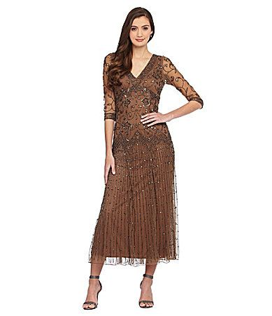 0363758cc1e49 Pisarro Nights 34Sleeve Beaded Dress  Dillards Looking for a Mother of the Bride  dress