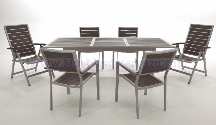 Mesa de jardín ampliable de aluminio y resina