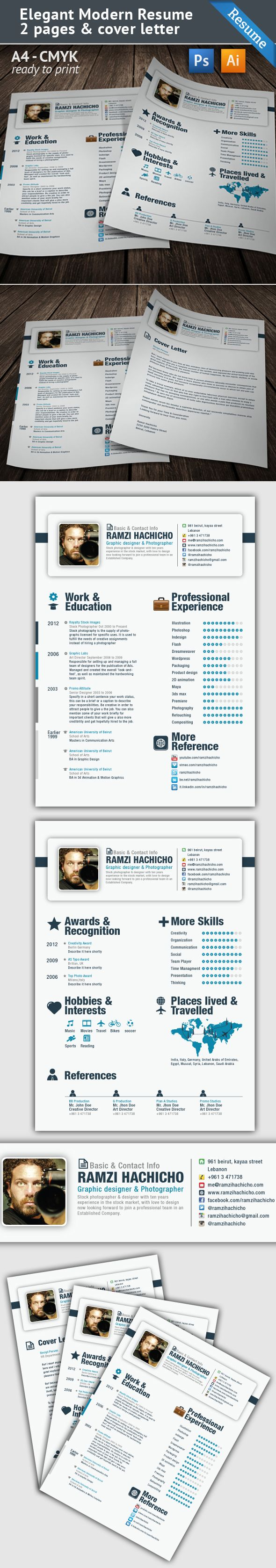 Creative cv Double sided Interesting places traveled