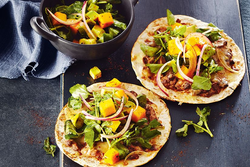 Grilled Black Bean Tostadas With Mango Avocado Salad Canadian Living In 2020 Mango Avocado Salad Avocado Salad Mexican Food Recipes