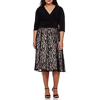 Jcp Melrose Elbow Sleeve Lace Skirt Fit And Flare Dress