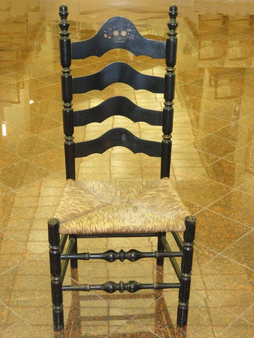 Antique Ladder Back Chairs With Rush Seats