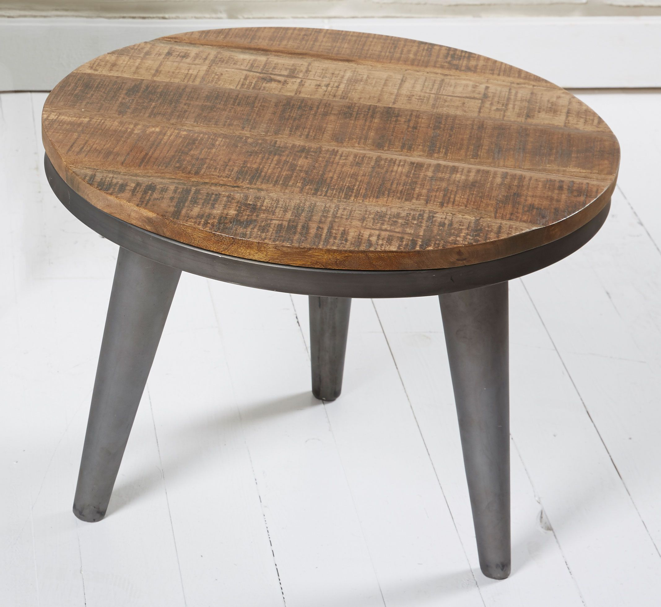 Runder Couchtisch Industrial Design Holz Metall