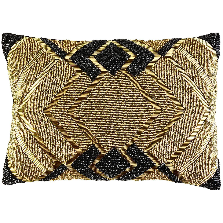 Beaded Modern Lumbar Pillow Black Gold Beaded Throw Pillows
