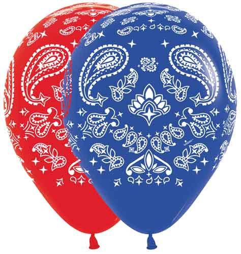 """BANDANA Print 11"""" Latex Balloons 10 count asst. - AIR or Helium Fill ,Farm Party, Birthday Cool Favor Party Balloon - Western , Southern BBQ"""