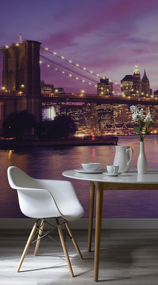 Our Purple Sky Brooklyn Bridge Mural Wallpaper Is A Lovely Design That Showcases The Amazing