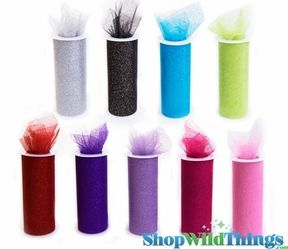 "Tulle Spools With Glitter - 6"" x 10 Yards - 14 Colors"