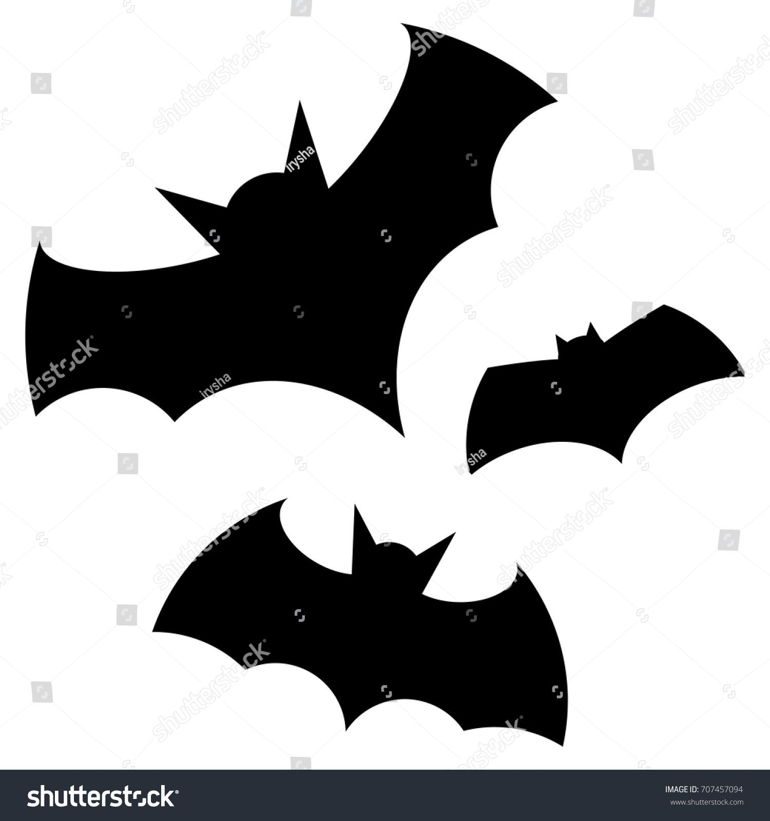 Halloween Black Bat Icon Set Bats Silhouettes Halloween
