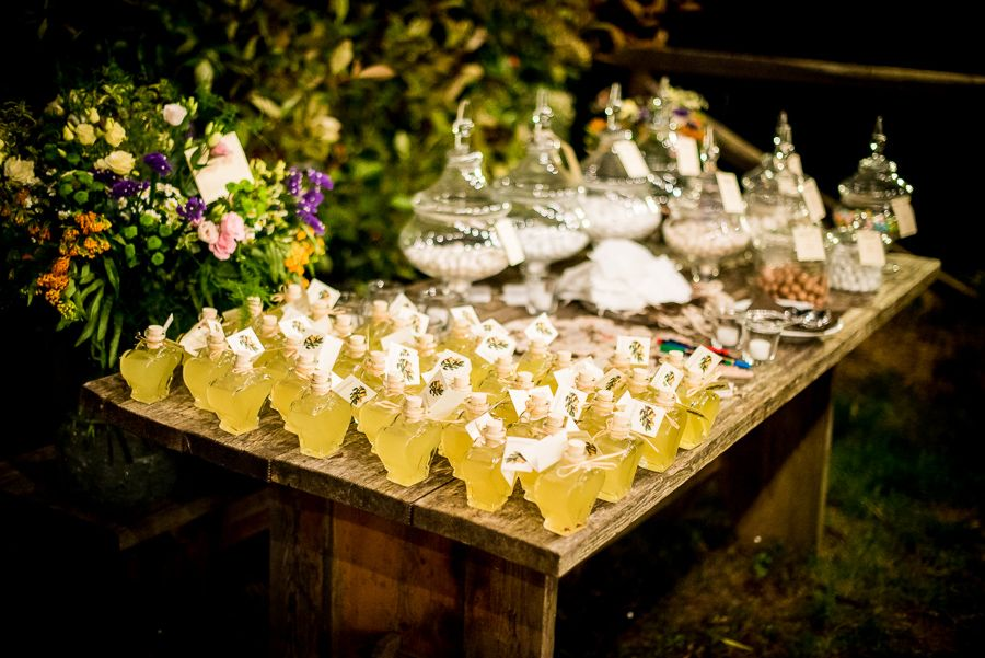heart shaped bottles filled with limoncello to offer your guests as a keepsake for attending your Tuscan Wedding.