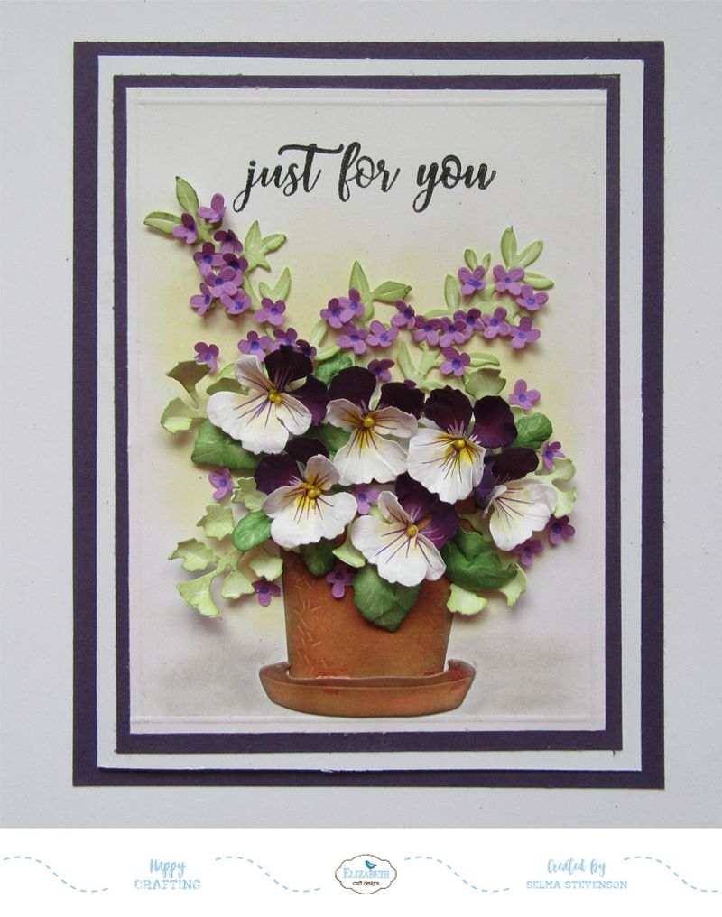 This Card Designed Using Susan S Garden Notes Pansy Maidenhair Fern Leafy Berry Branch And Potted Die Sets Flower Cards Card Making Flowers Cards Handmade