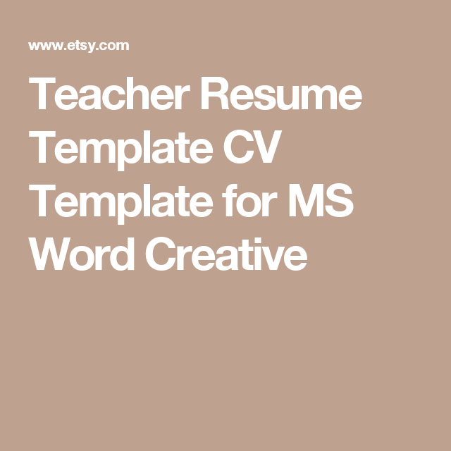Teacher Resume Template Cv Template For Ms Word Creative  For