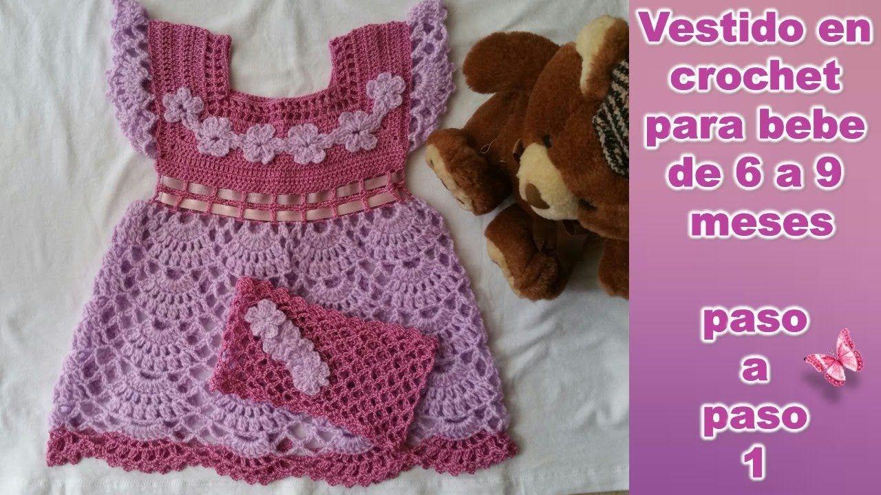 381070af7 VESTIDO PARA BEBE DE 6 A 9 MESES en crochet PASO A PASO 1 de 2 ...