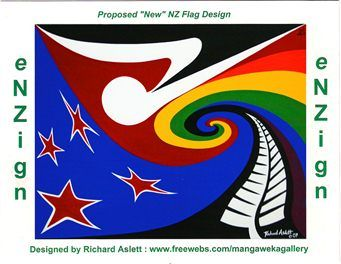 enzign new nz flag postcards by richard aslett new