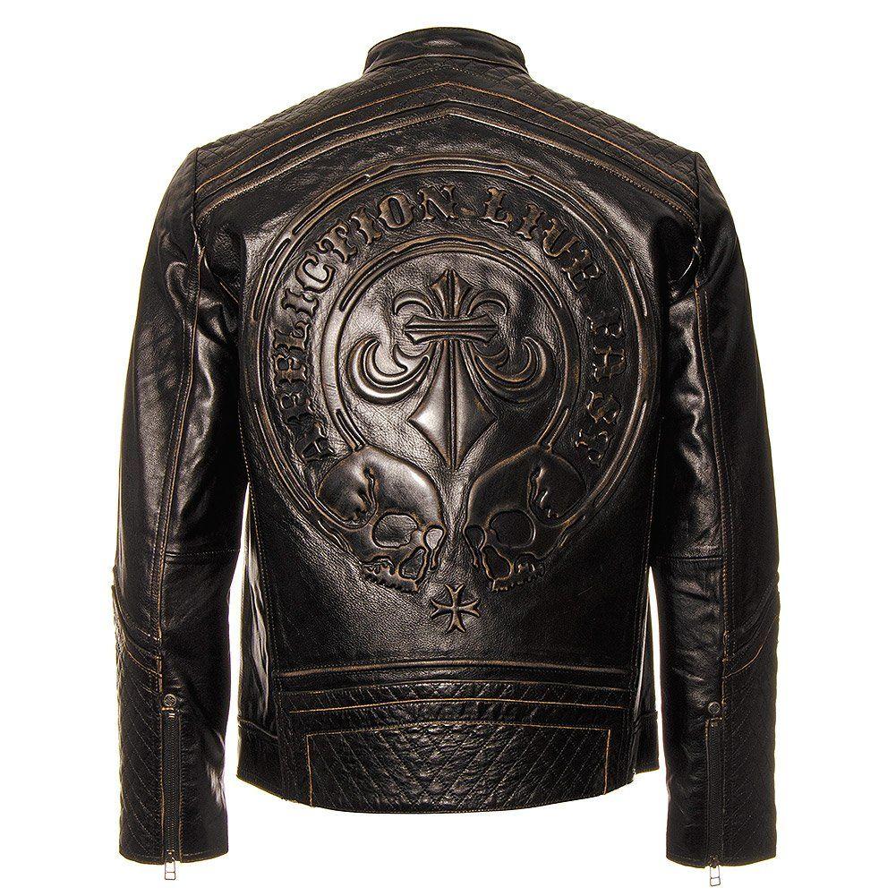 Affliction Men S American Custom Lemmy Leather Jacket Black X Large Leather Jacket Leather Jacket Black Affliction Men [ 1001 x 1001 Pixel ]