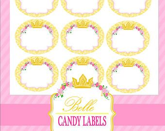 Beauty and the Beast Candy buffet | belle party candy jar labels be auty and the beast party princess ...