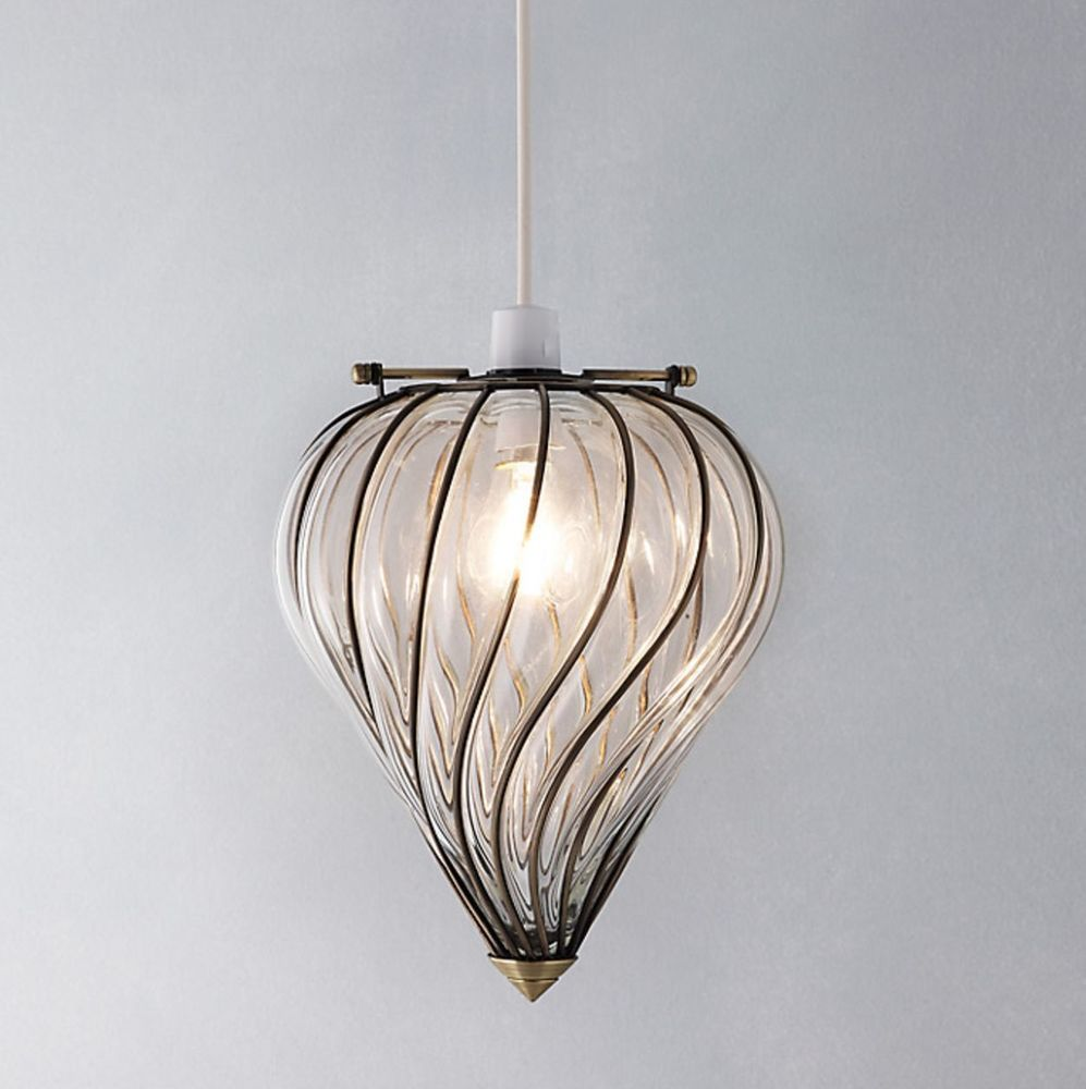 New antique style john lewis verity easy fit glass ceiling light ...