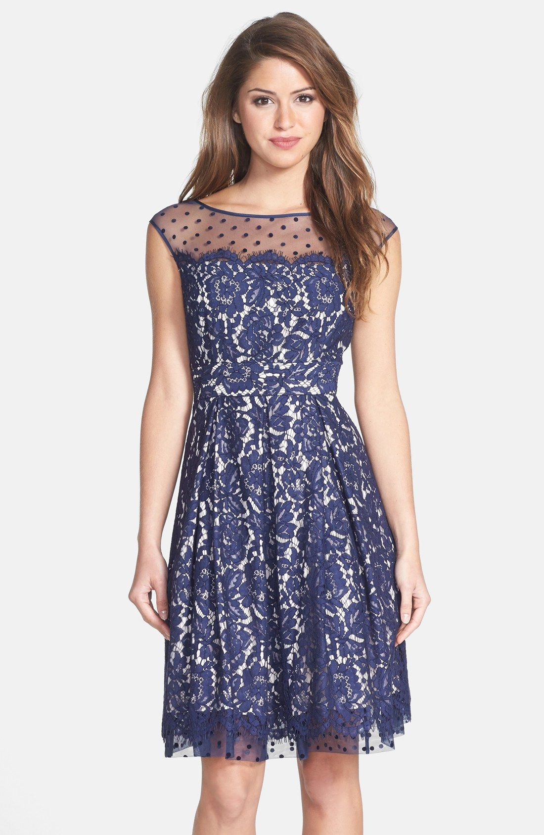 6e280fcd9af Free shipping and returns on Eliza J Illusion Yoke Lace Fit   Flare Dress  at Nordstrom.com. A ladylike covering of dotted mesh and floral  eyelash-fringe ...