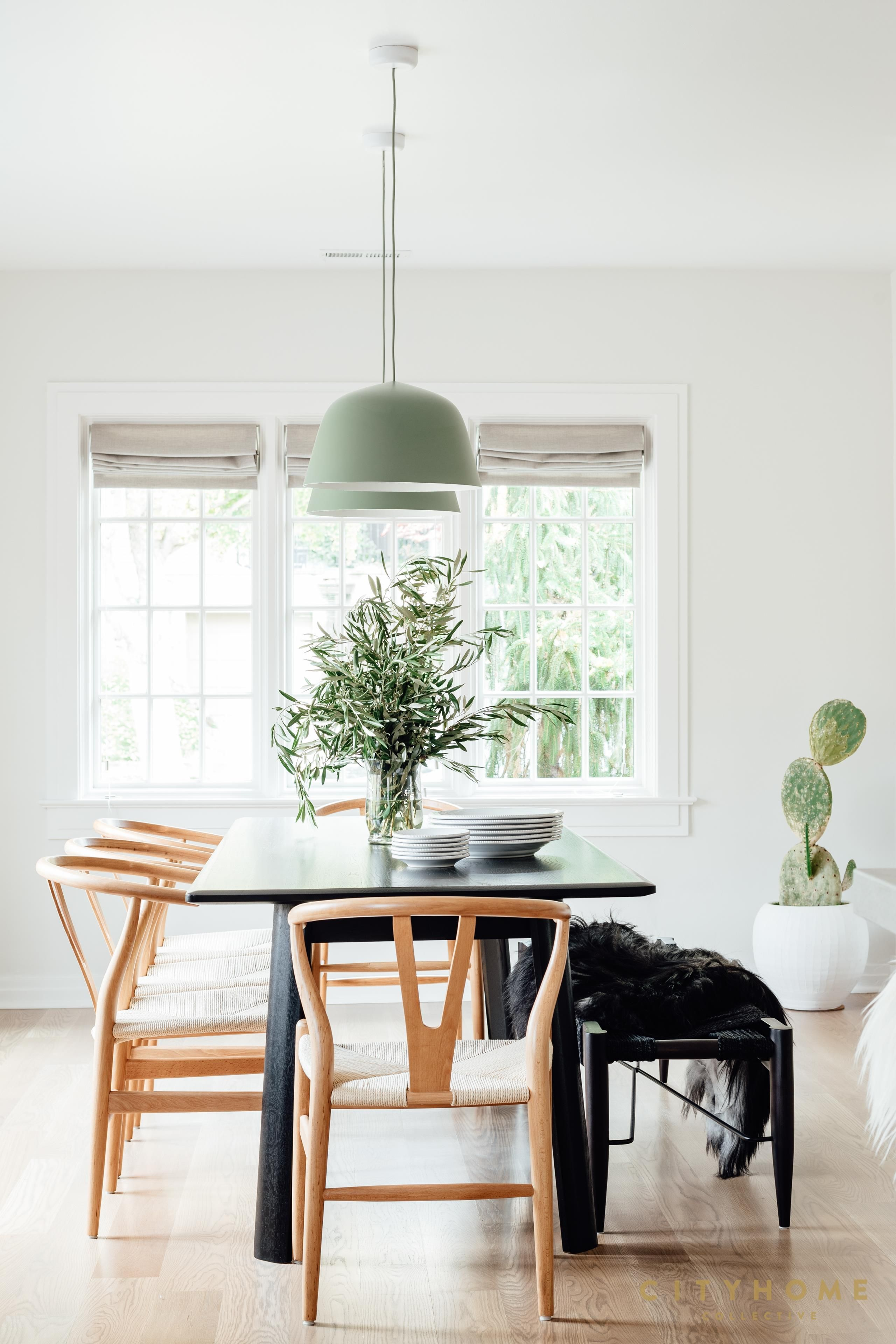Scandinavian Dining Chairs Black Rectangular Dining Table Two Pendants Over Dining Table With Bench Black Rectangular Dining Table Dining Table Bench Seat