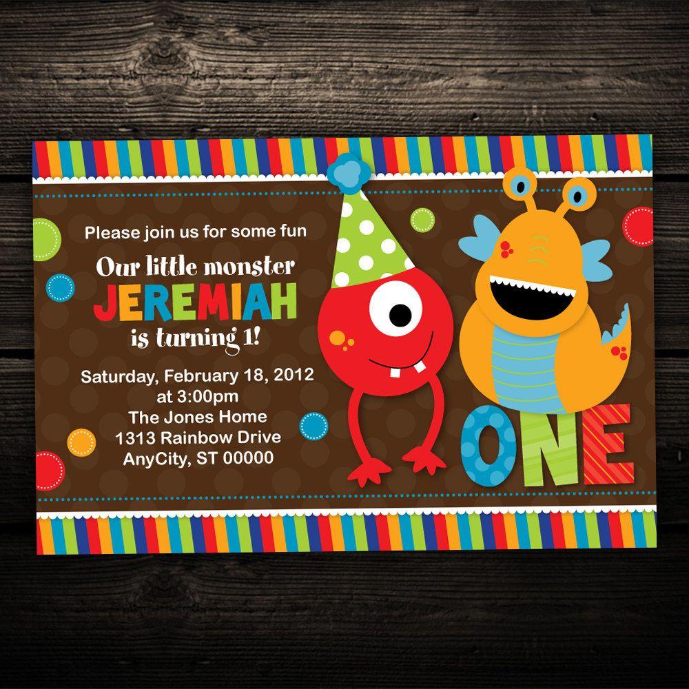 Cute Little Monster Printable Children\'s Birthday Invitations -- Any ...