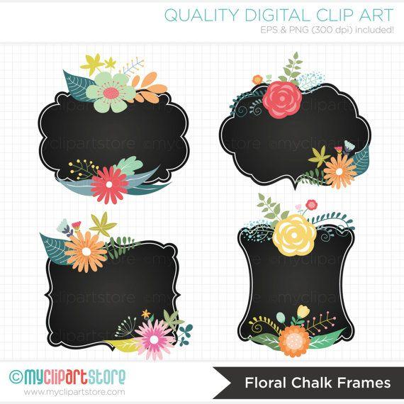 Floral Chalk Frames Floral Cluster Frames Chalk Labels Clipart Instant Download Floral Art Vintage Chalkboard Clip Art