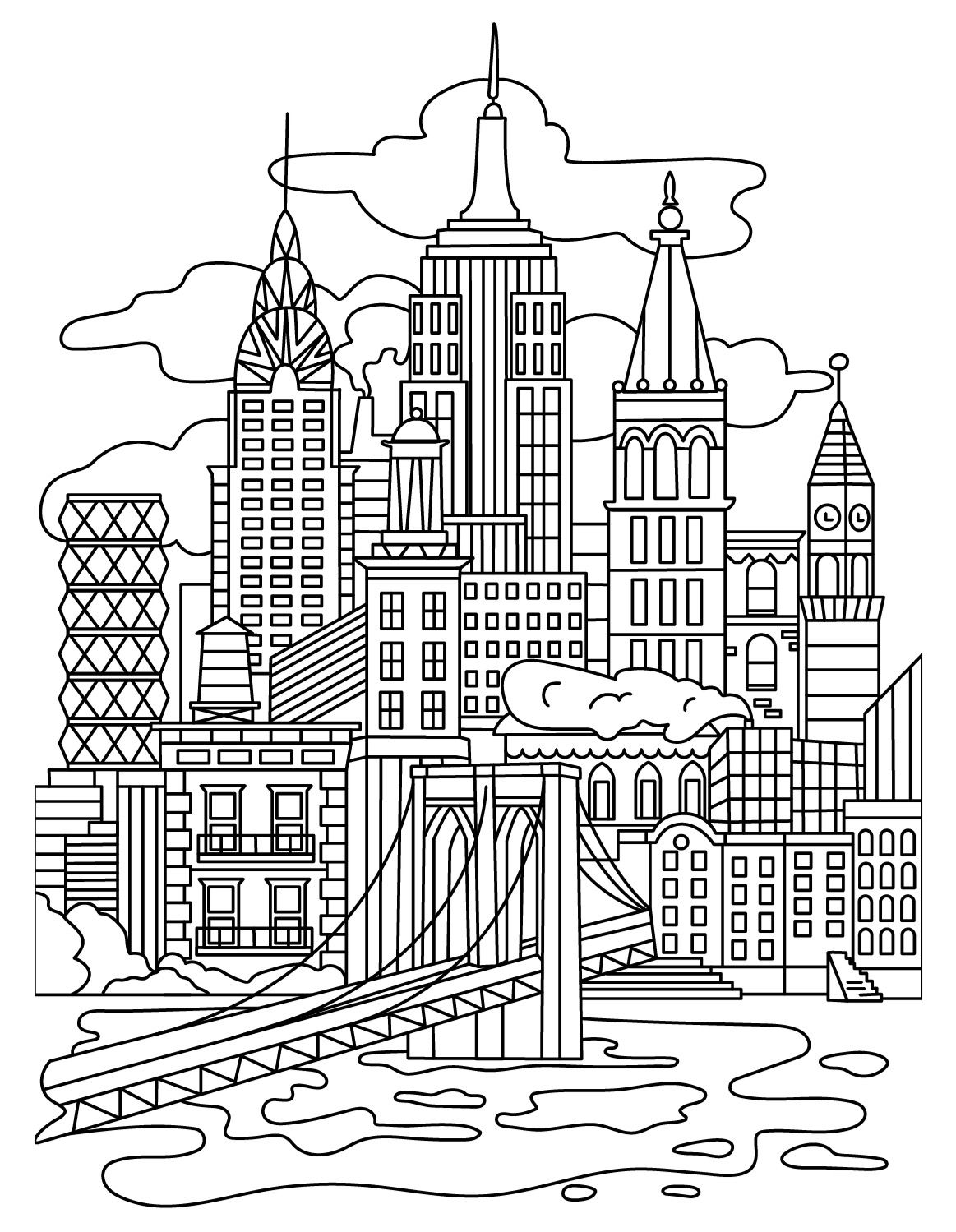 Cities Colorish Coloring Book App For Adults Mandala Relax By Goodsofttech Coloring Books Coloring Pages New York Drawing
