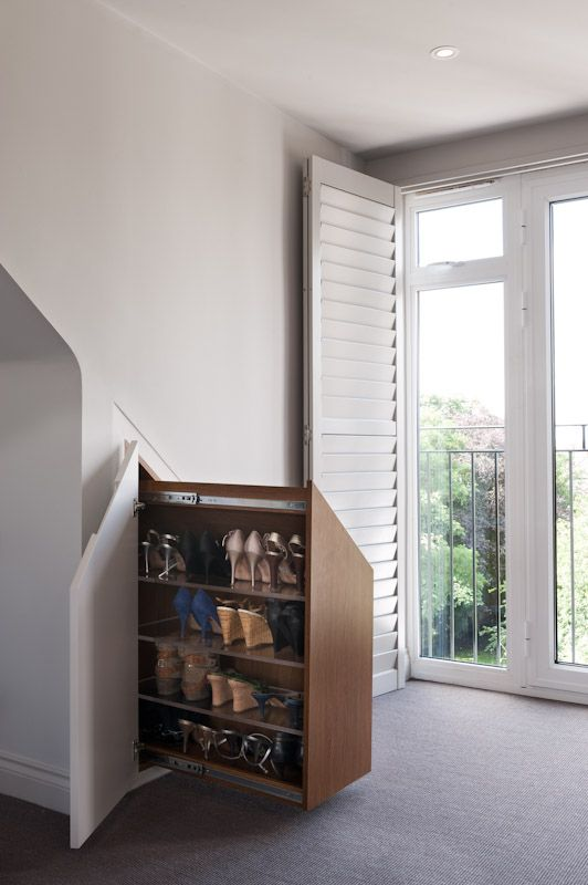 Pull-out shoe cabinet under the eaves | Spaces - Closets & Dressing ...