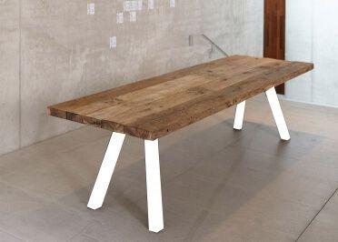 BANC DE TABLE DESIGN EN CHENE NATUREL ET ACIER NOIR OU BLANC L 240 OU 300 3236dd4efed6