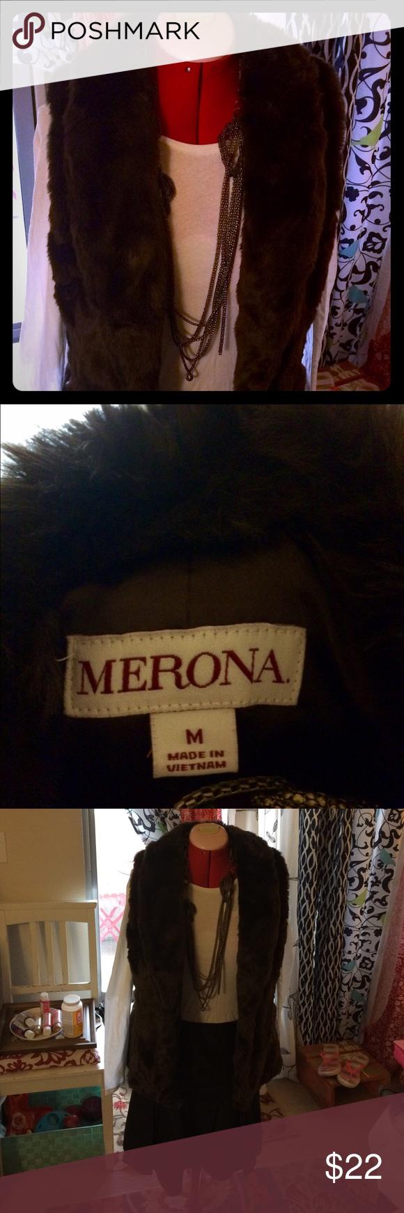 Chocolate brown fur vest Chocolate brown fur vest. Never worn. Merona brand. Size medium. Super soft! Jackets & Coats Vests