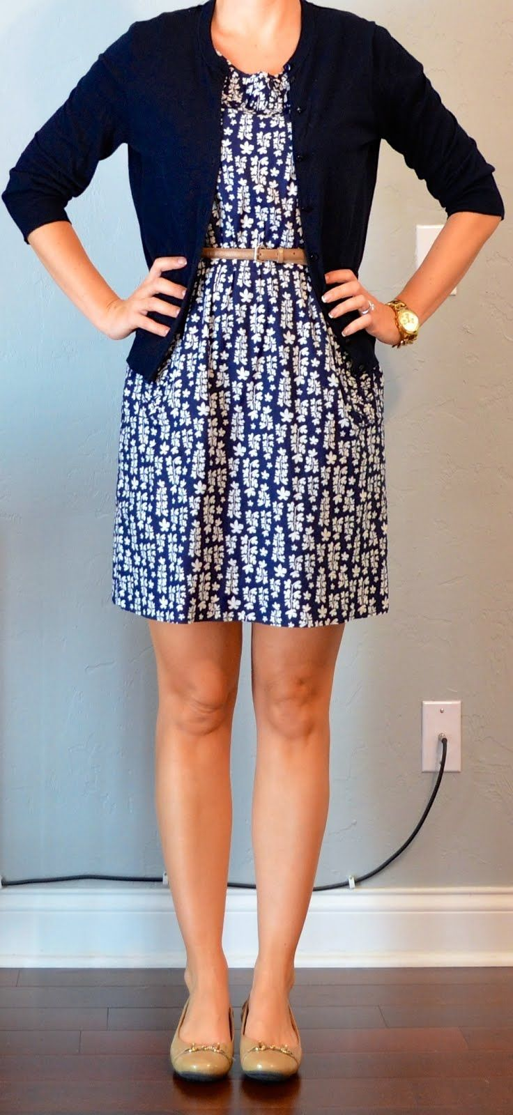 Outfit Posts: outfit post: blue floral dress, navy cardigan, gold ...